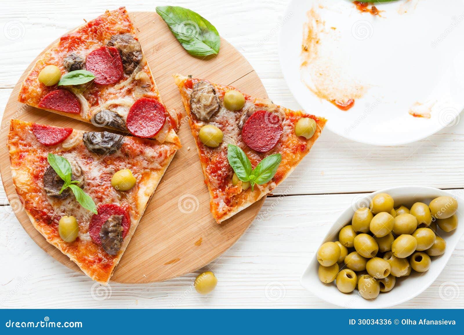 Rebanadas de pizza y de un plato vac o imagen de archivo for Platos de pizza