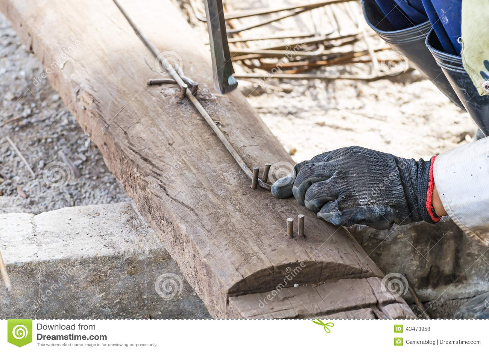 rebar bending by worker in construction site rebar worker