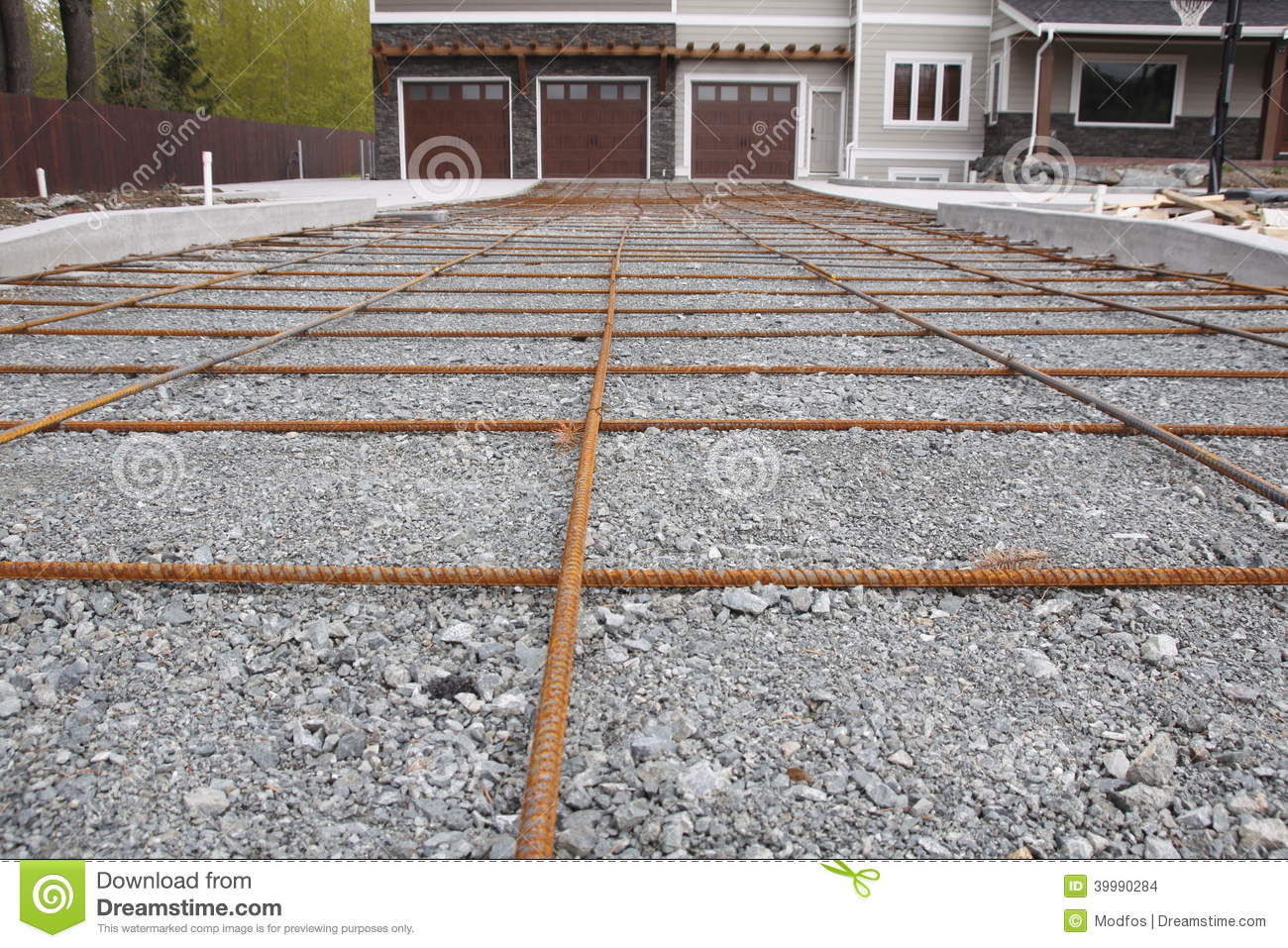 Rebar for new driveway stock photo image of metal house for Pouring concrete driveway