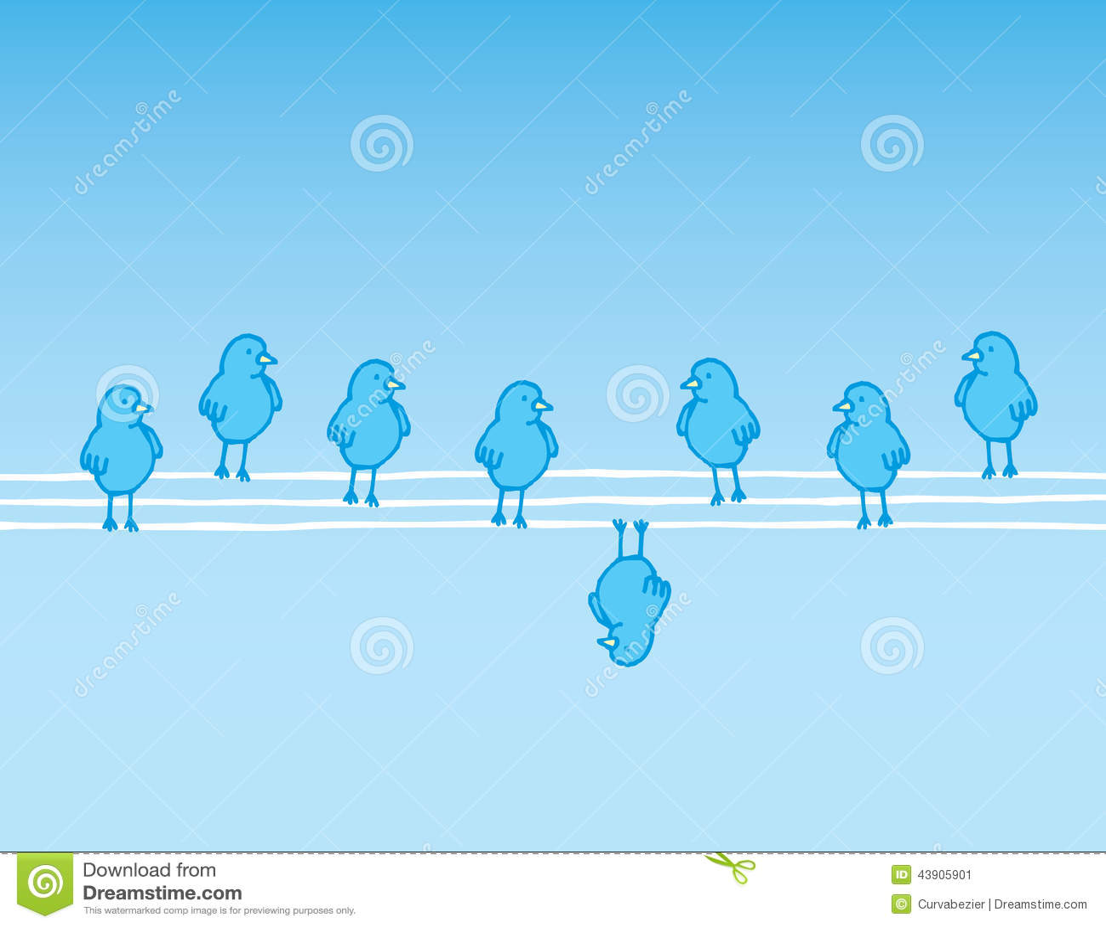 Rebel Bird Hanging Upside Down Stock Vector Illustration Of