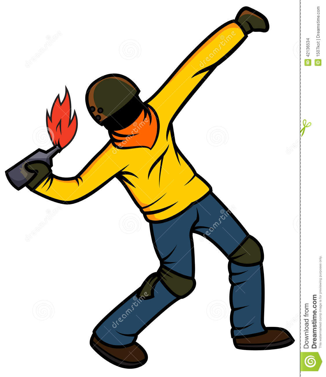 Rebel Throwing Molotov Cocktail Stock Vector Image 42136534