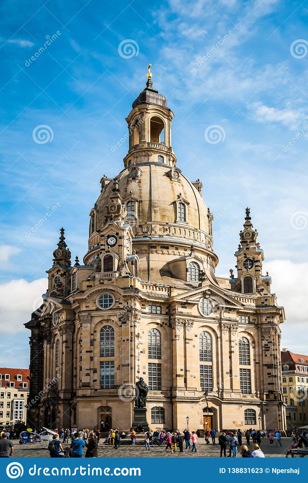Frauenkirche Our Lady church and statue of Martin Luther in the center of old town in Dresden, Germany