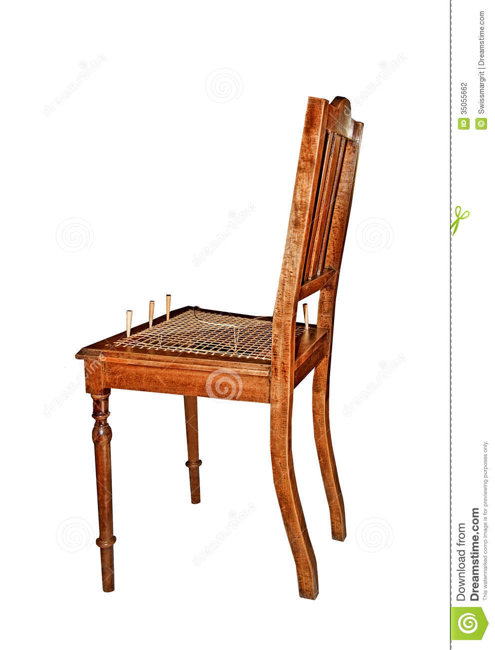 Recaning old wooden chair stock photography image 35055662