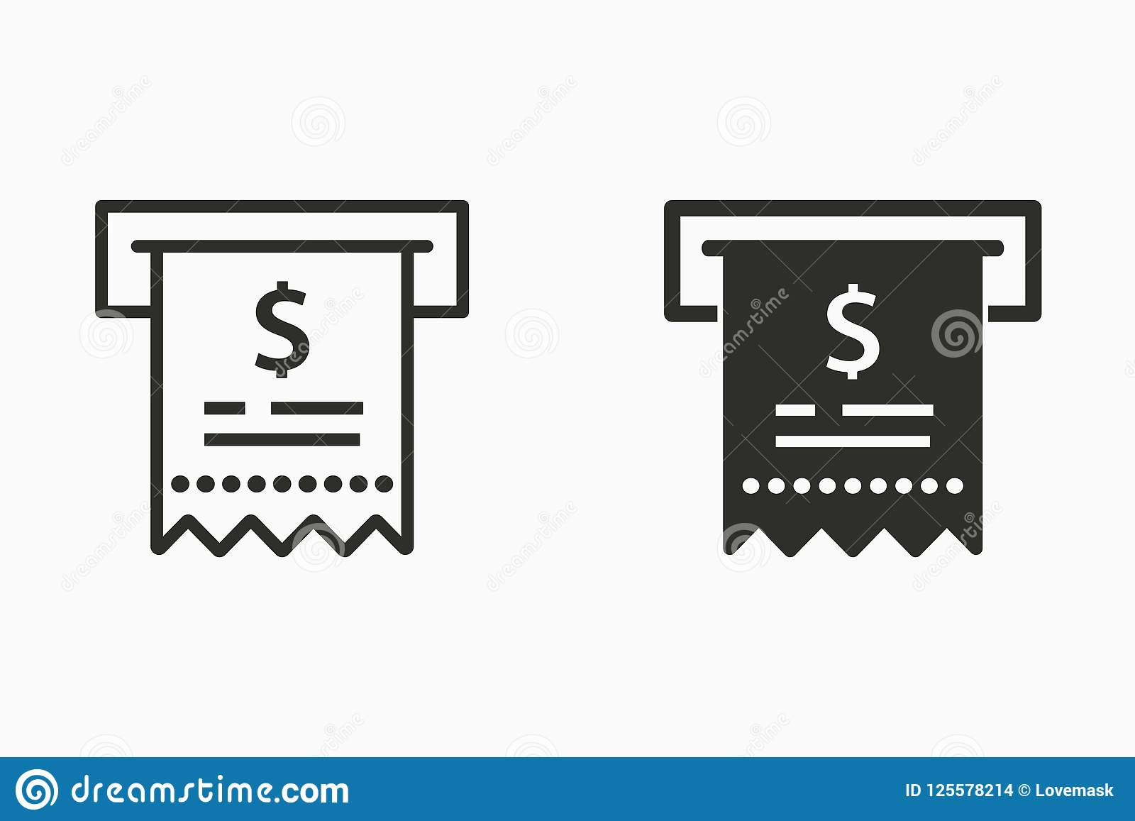 receipt vector icon for graphic and web design