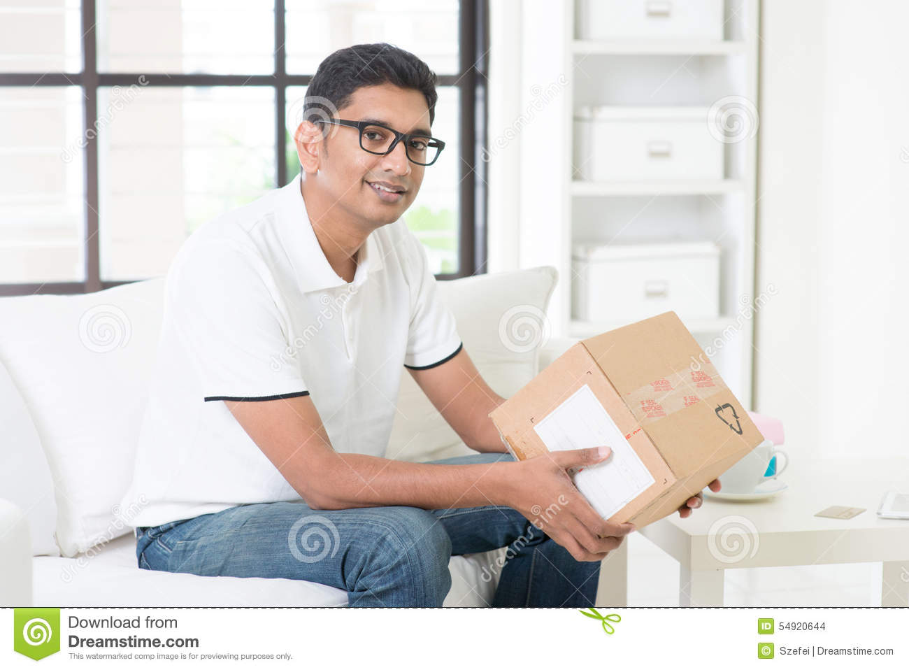 Received courier box stock photo  Image of male, india