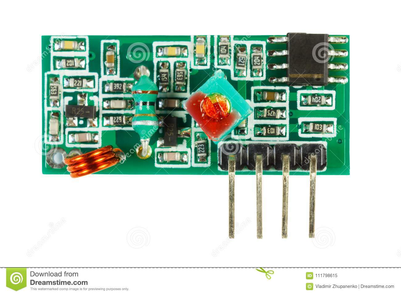 Receiver Of Digital Signal Printed Circuit Board With The Set Completely Assembled Electronic Components Isolated On White Background