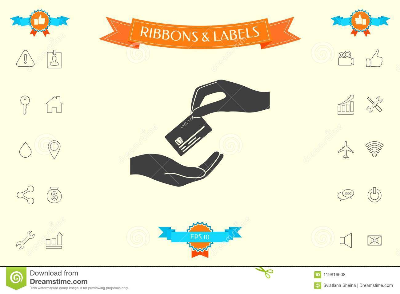 Receiving Credit Card  Hand Holding Credit Card Stock Vector