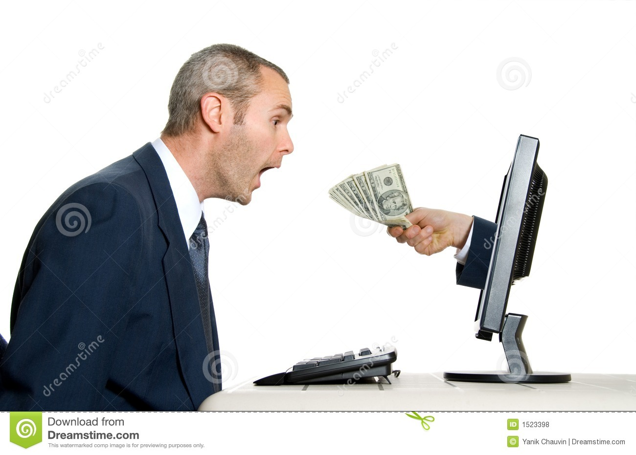Download Receiving money stock photo. Image of businessman, computer - 1523398