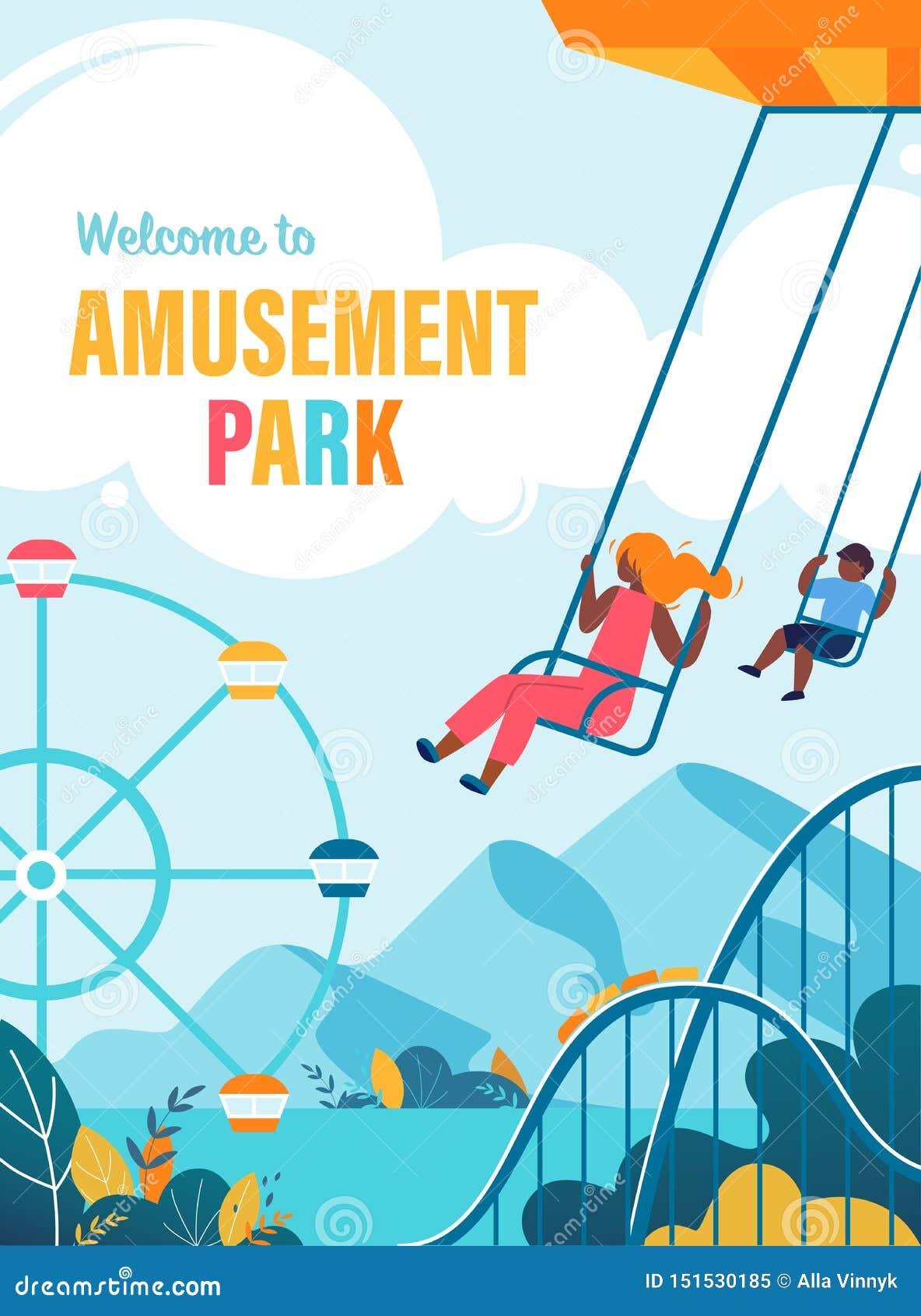 Recepción colorida del cartel al plano del parque de atracciones