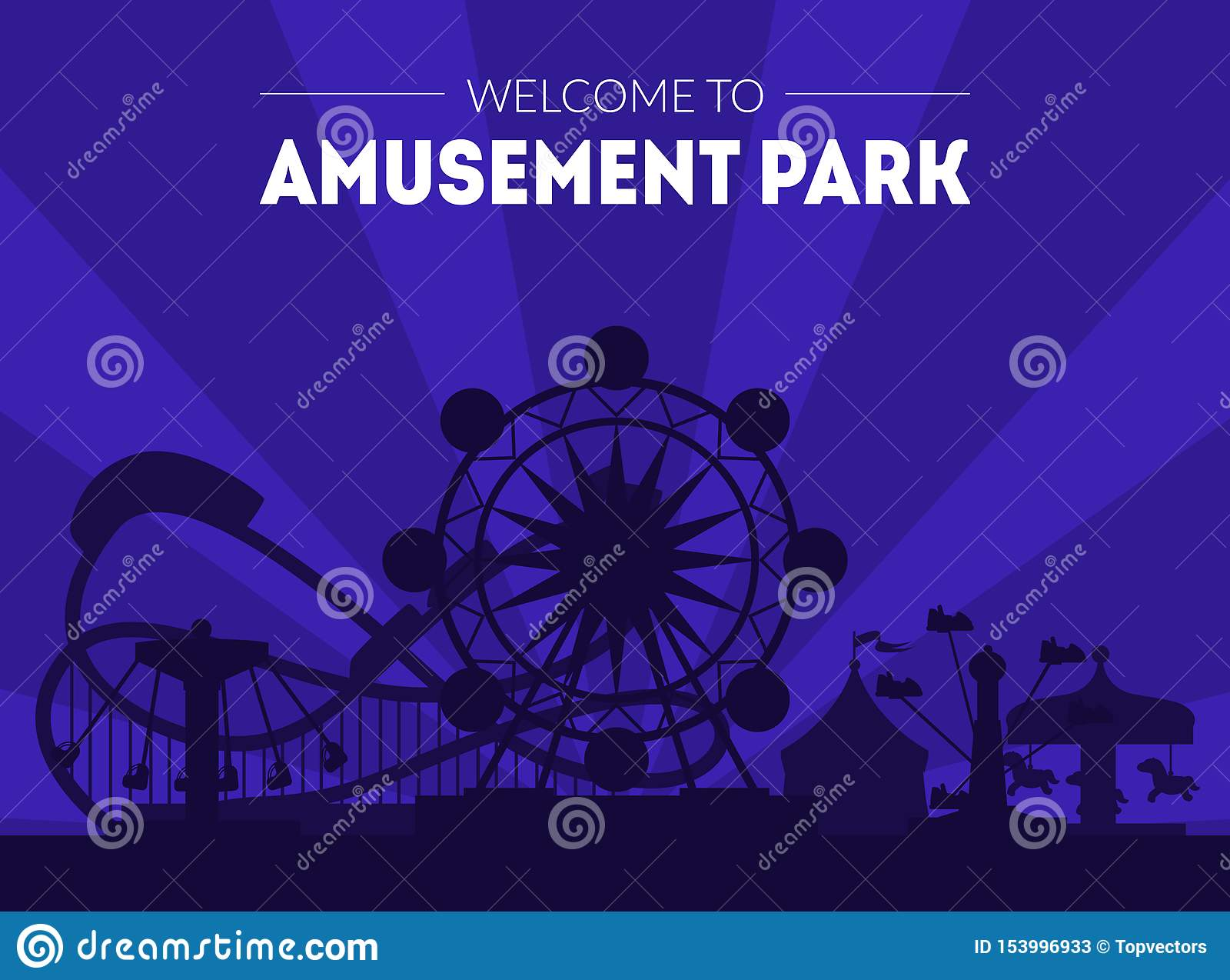 Recepción a la plantilla de la bandera del parque de atracciones, al cartel del Funfair del carnaval de la noche con Ferris Wheel
