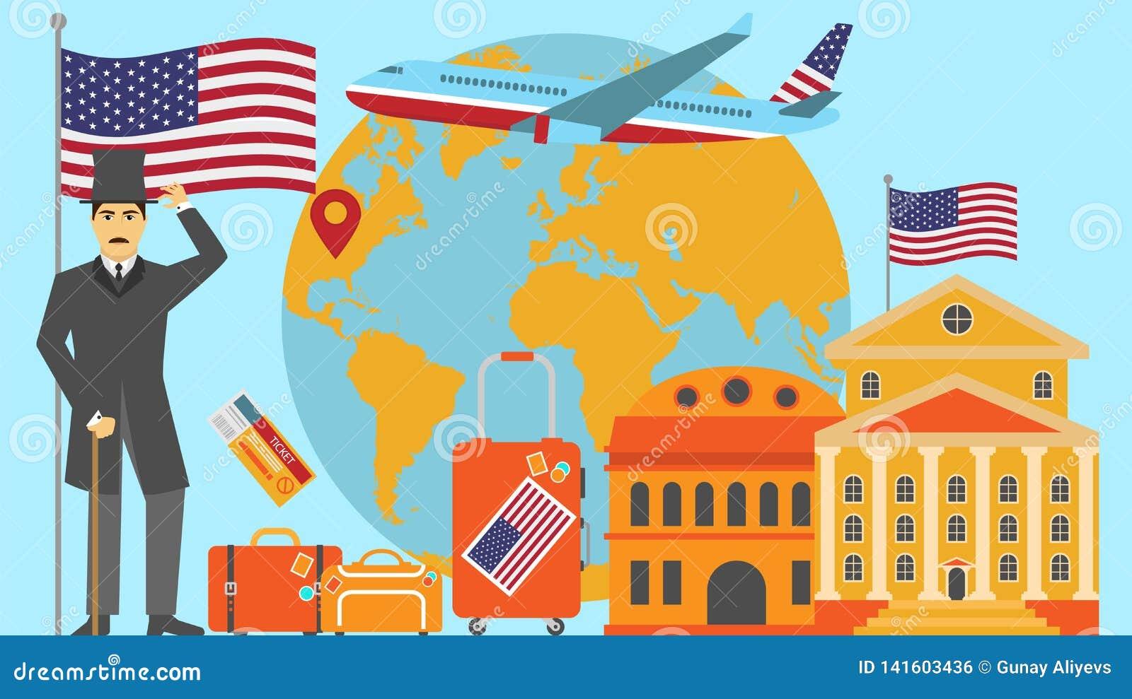 Recepción a la postal de los E.E.U.U. Concepto del viaje y del safari de ejemplo del vector del mapa del mundo de Europa con la b
