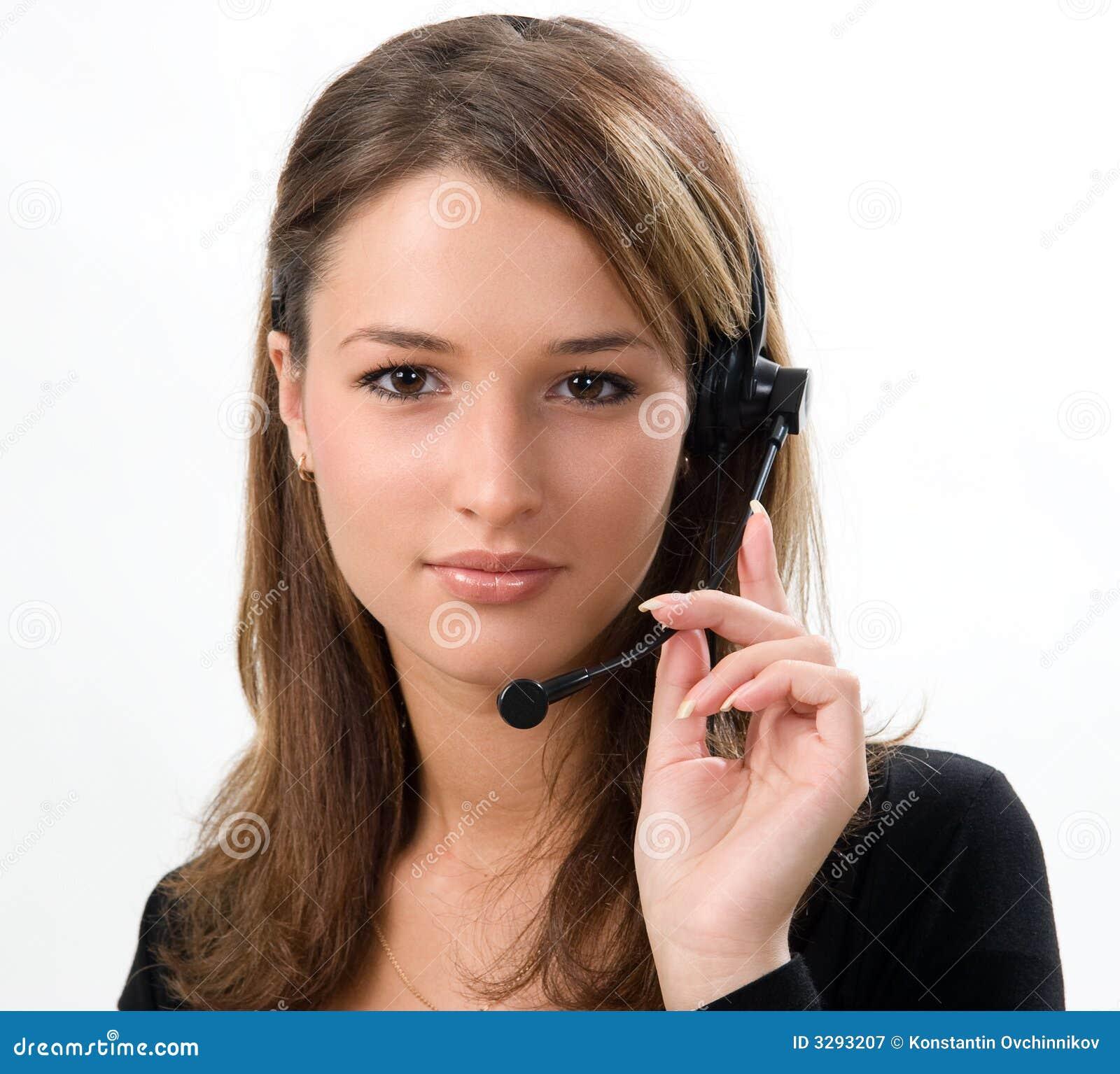 Recepcionista com auriculares