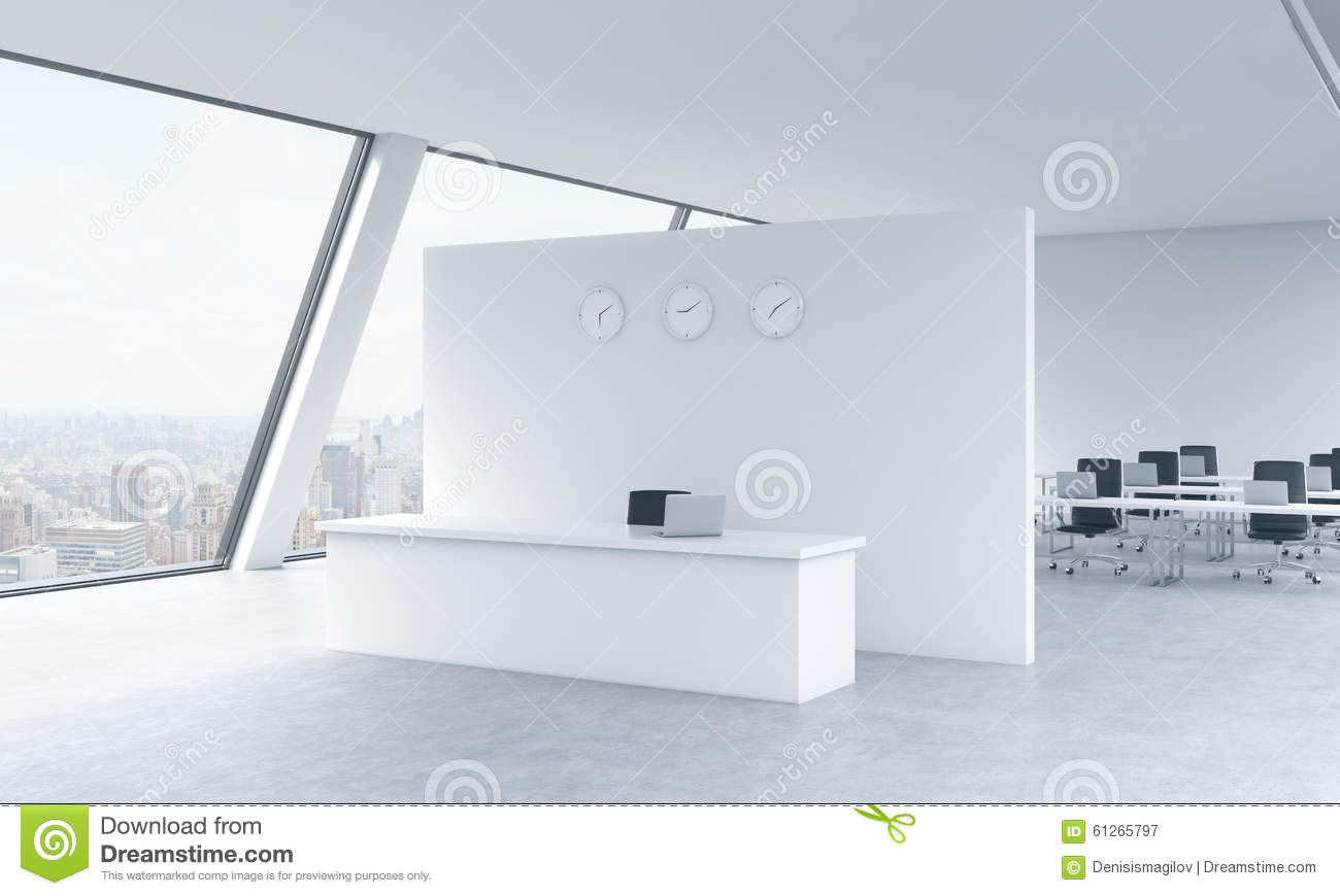 reception area with clocks and workplaces in a bright modern open space loft office white bright modern office space