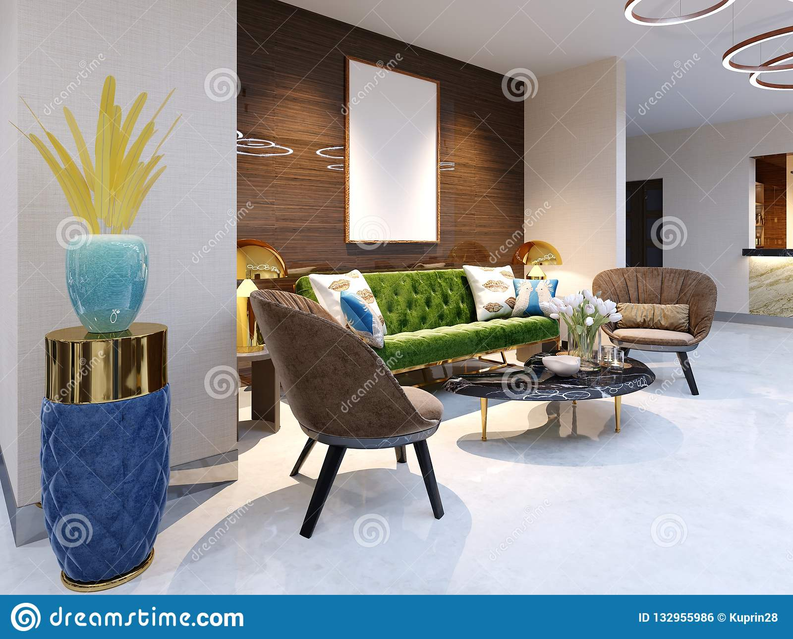 Reception area and lounge area with beautiful colored furniture, a sofa with two armchairs, metal legs and soft upholstery. The