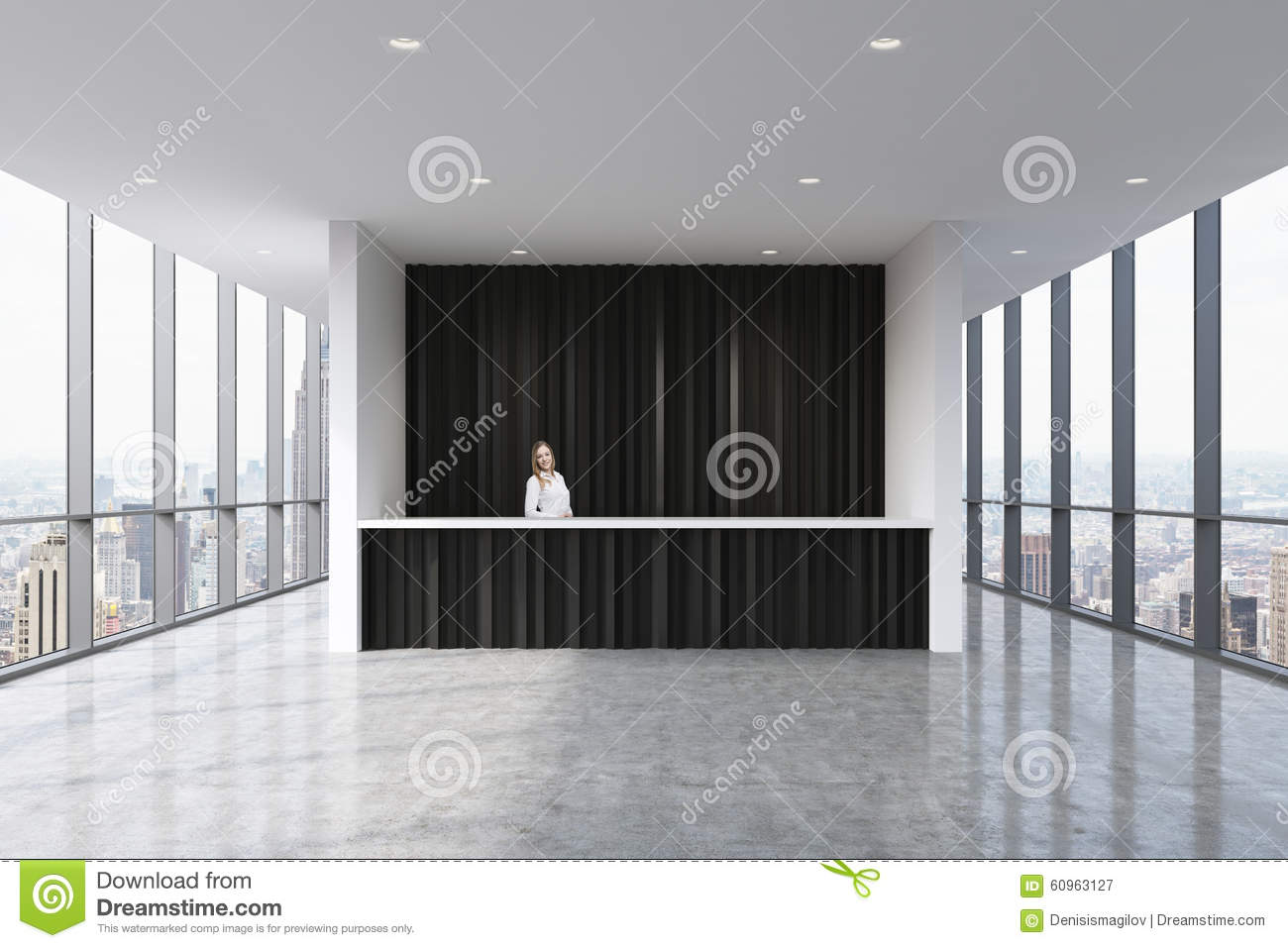 A reception area in a modern bright clean office with a for Modern office area