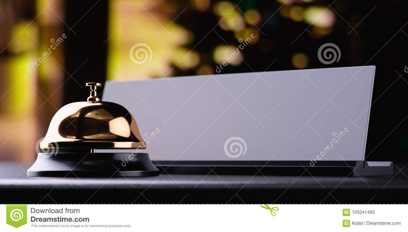 Reception bell golden with white card