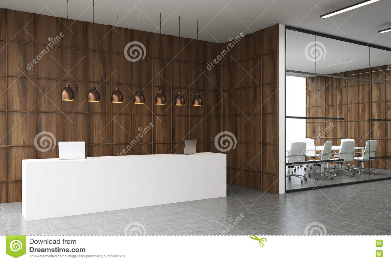 Reception Desk And Conference Room Stock Illustration