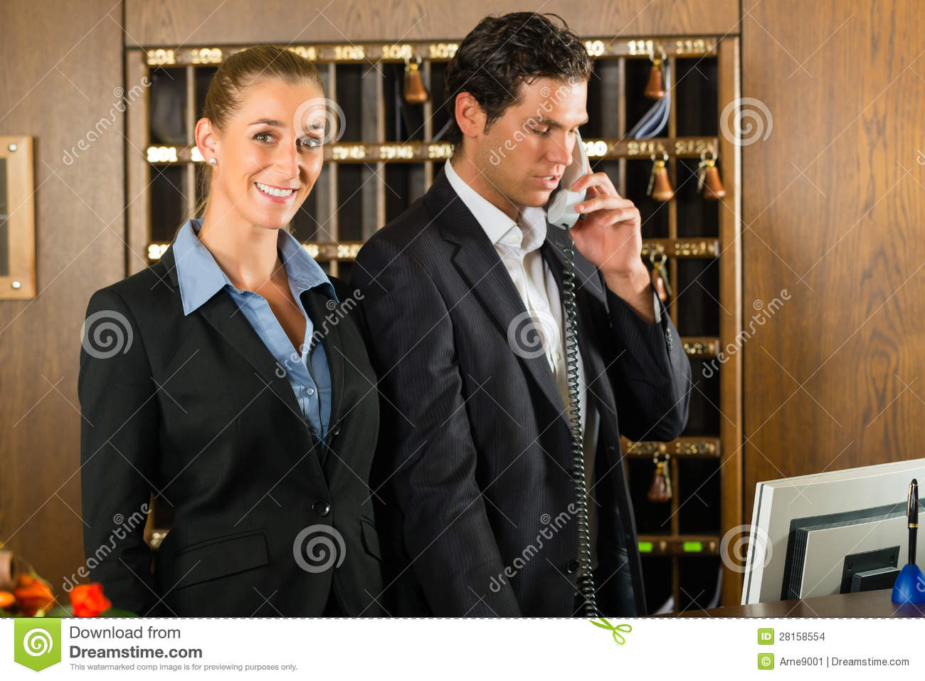 Reception in hotel - Man and woman