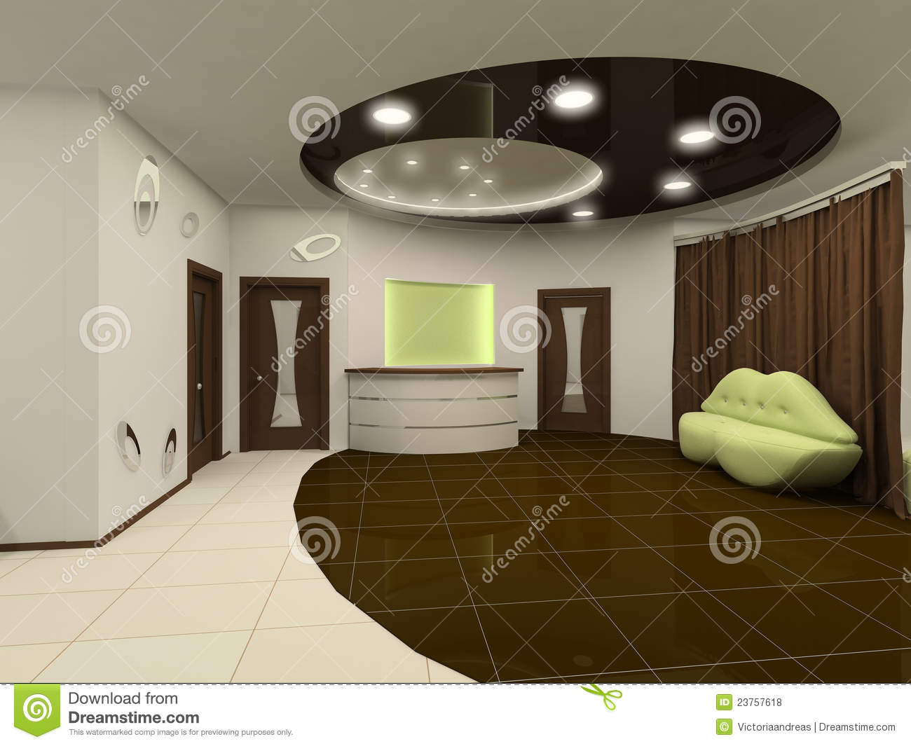 Reception interior design hall with furniture stock for Interior design furniture