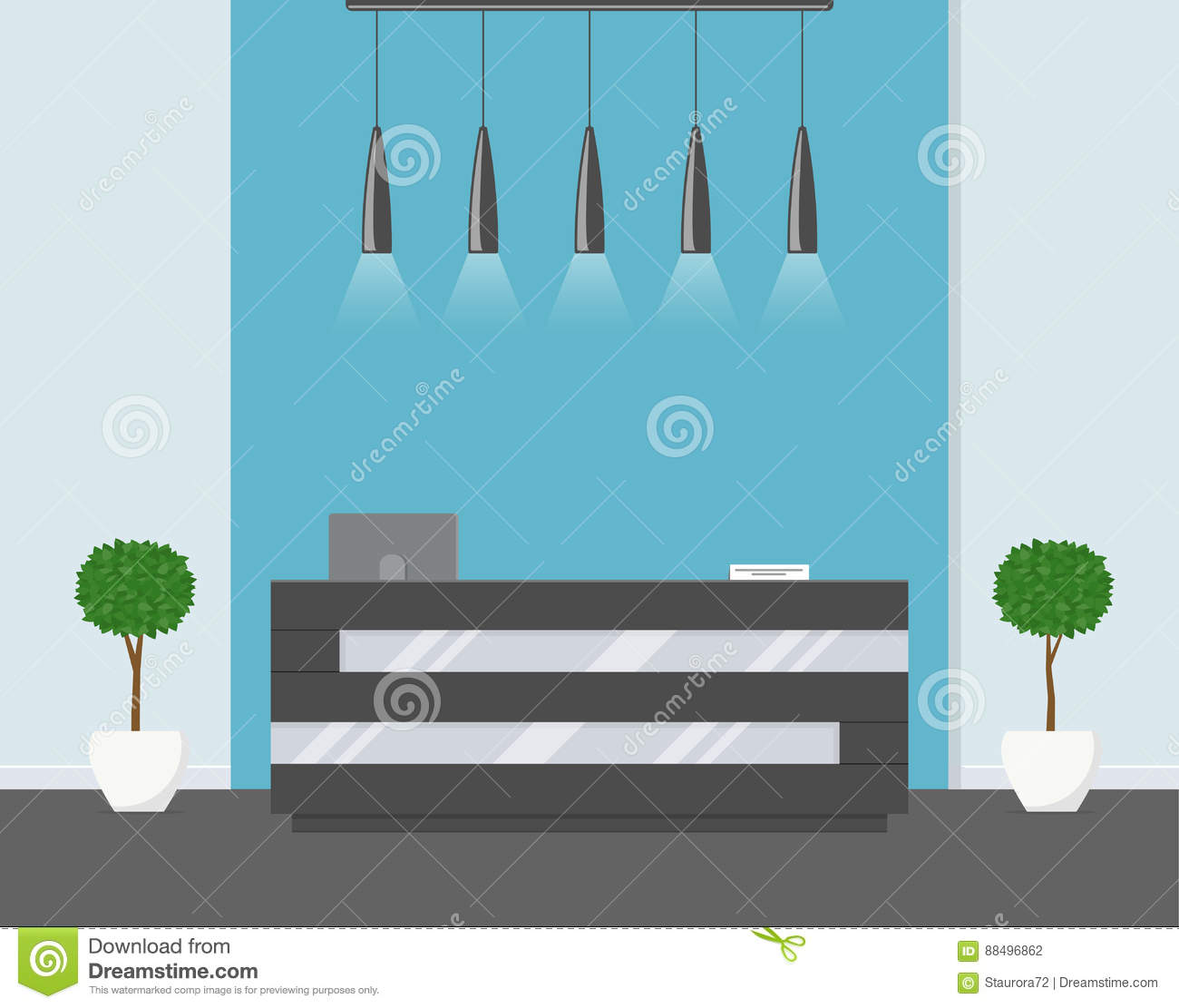 modern office colors. Reception In Modern Office. Business Office, Clinic Or Hotel Interior Blue Colors With Flowers And Desk. Office O