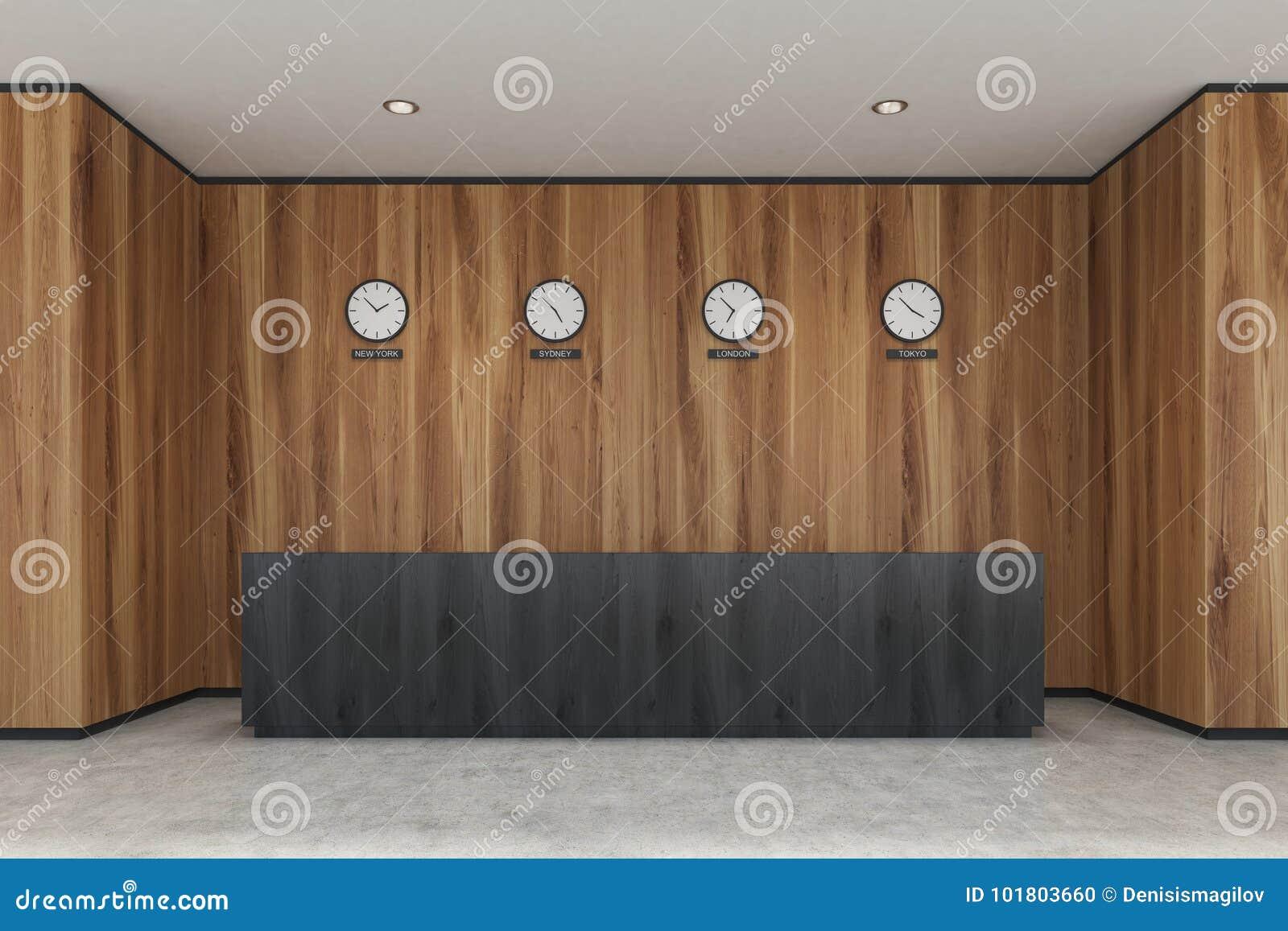 Reception Ufficio Legno : Reception nera ufficio di legno illustrazione di stock