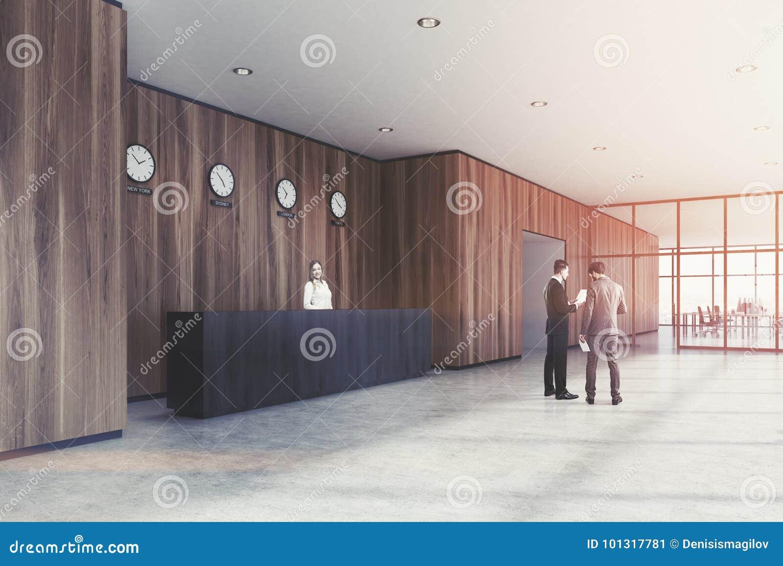 Reception Ufficio Legno : Reception nera ufficio di legno lato la gente immagine stock
