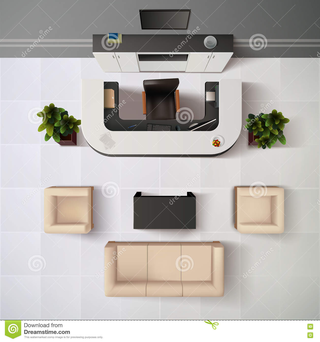 Reception Office Top View Illustration Stock Vector Image 73604618