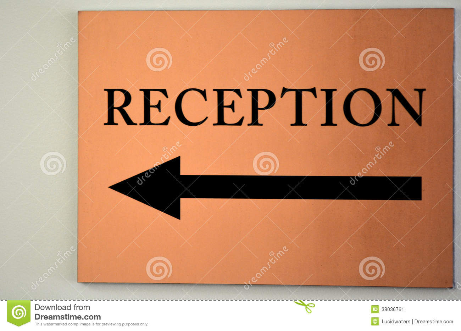 Reception Sign Stock Image Image 38036761
