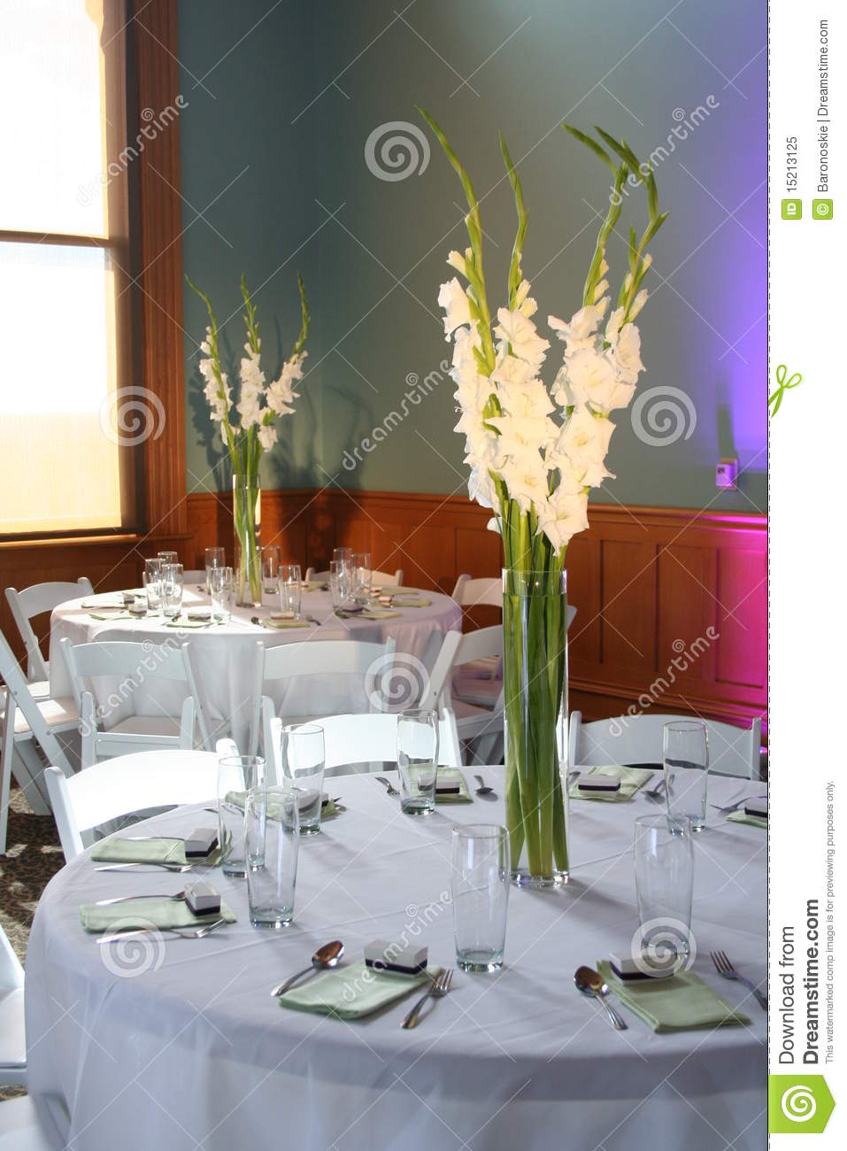 Reception Table Decorations Royalty Free Stock Photo