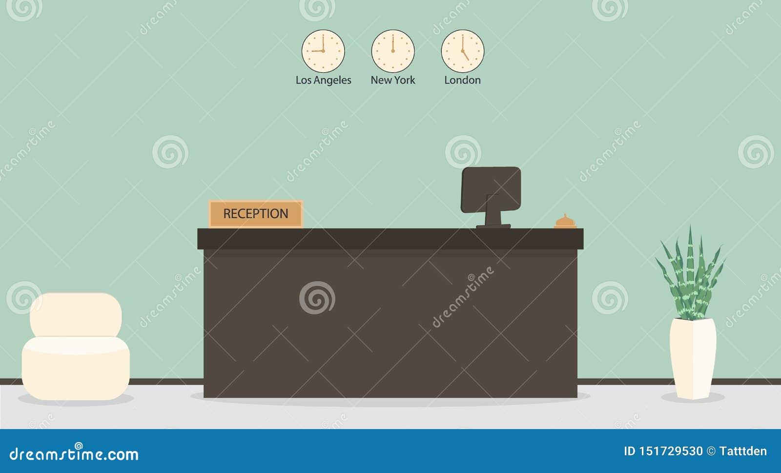 Reception vuota in hotel o in banca, posto di lavoro del receptionist Sala di attesa, corridoio nell ufficio di affari, interno m