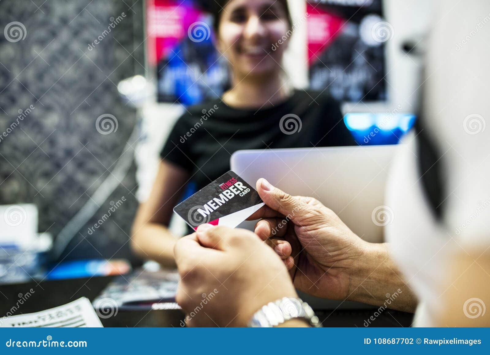 Receptionist för indier för konditionmedlemskapkort