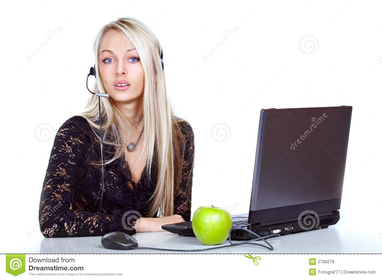 view of a young blond receptionist or administrative person with a ...