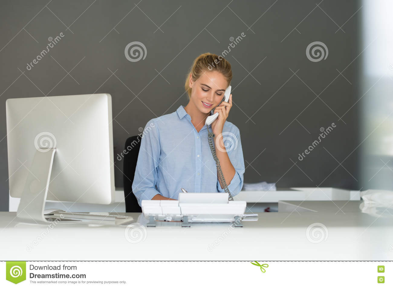 receptionist on phone stock image  image of assistant