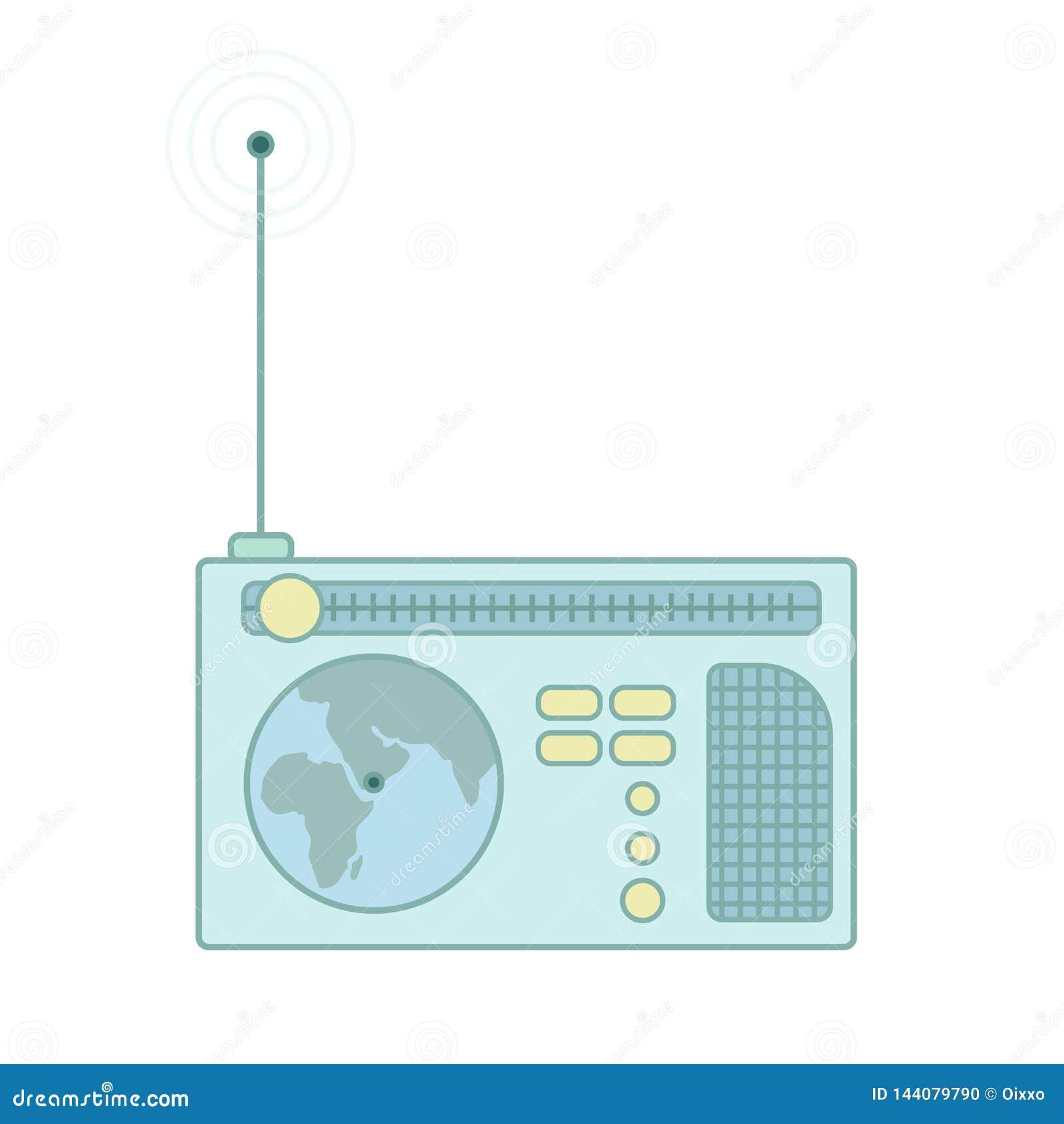 Receptor de rádio do vintage com antena Ícone liso do vetor
