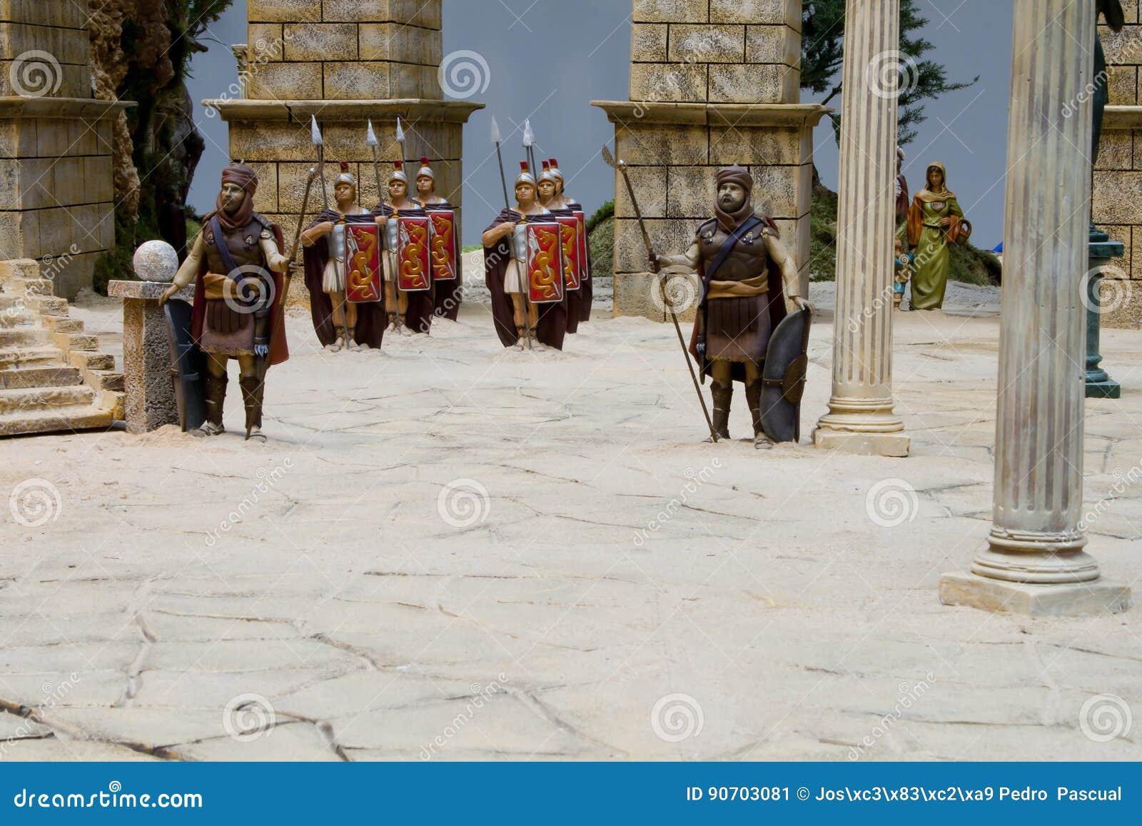 Receration romain d armée dans une scène de nativité