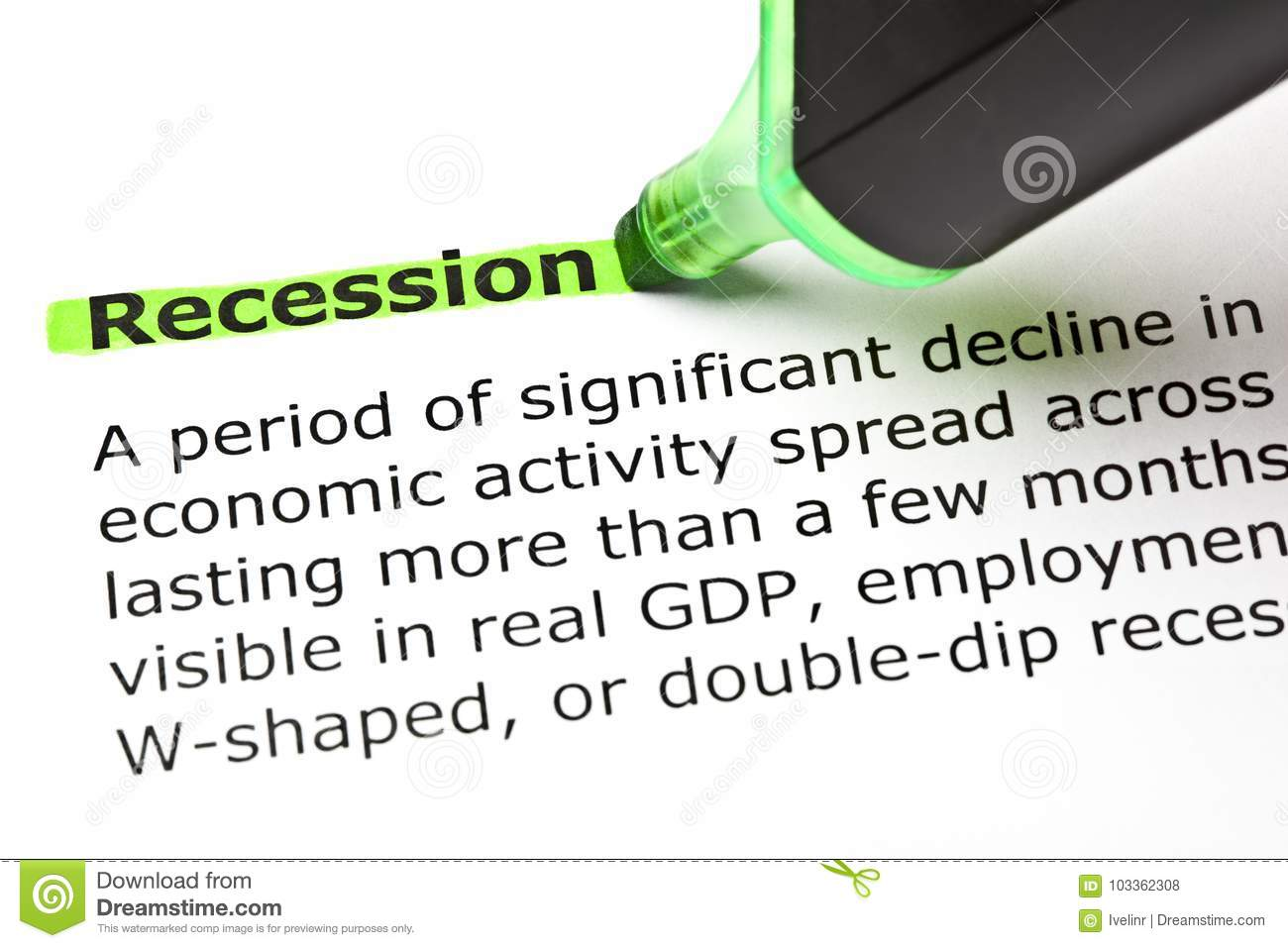 Recession Dictionary Definition Green Marker
