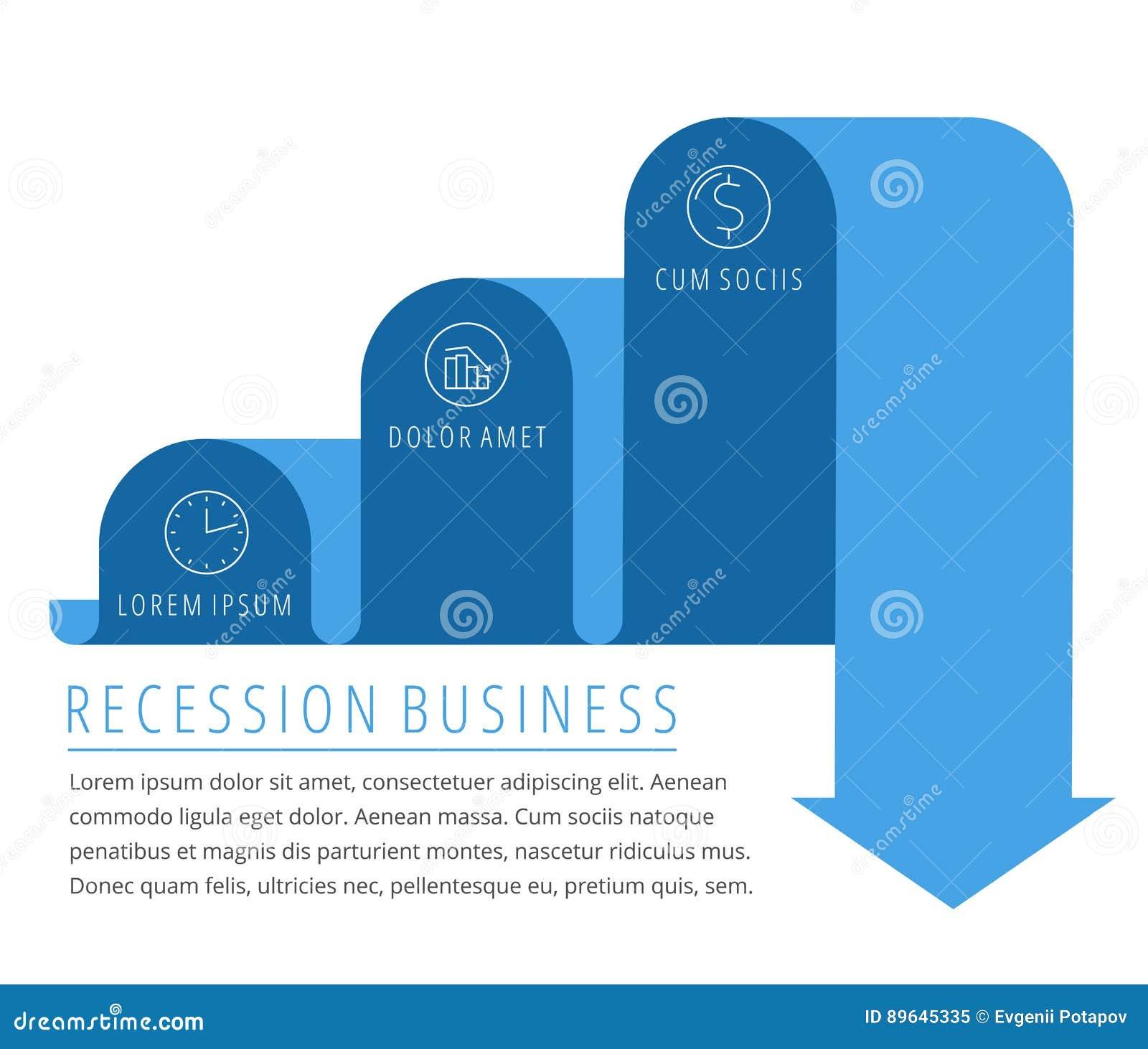 Recessione, freccia di affari di declino Vettore piano diminuente del grafico
