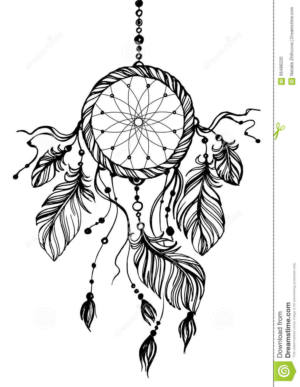 Simple Dreamcatcher Drawing Page For Kids