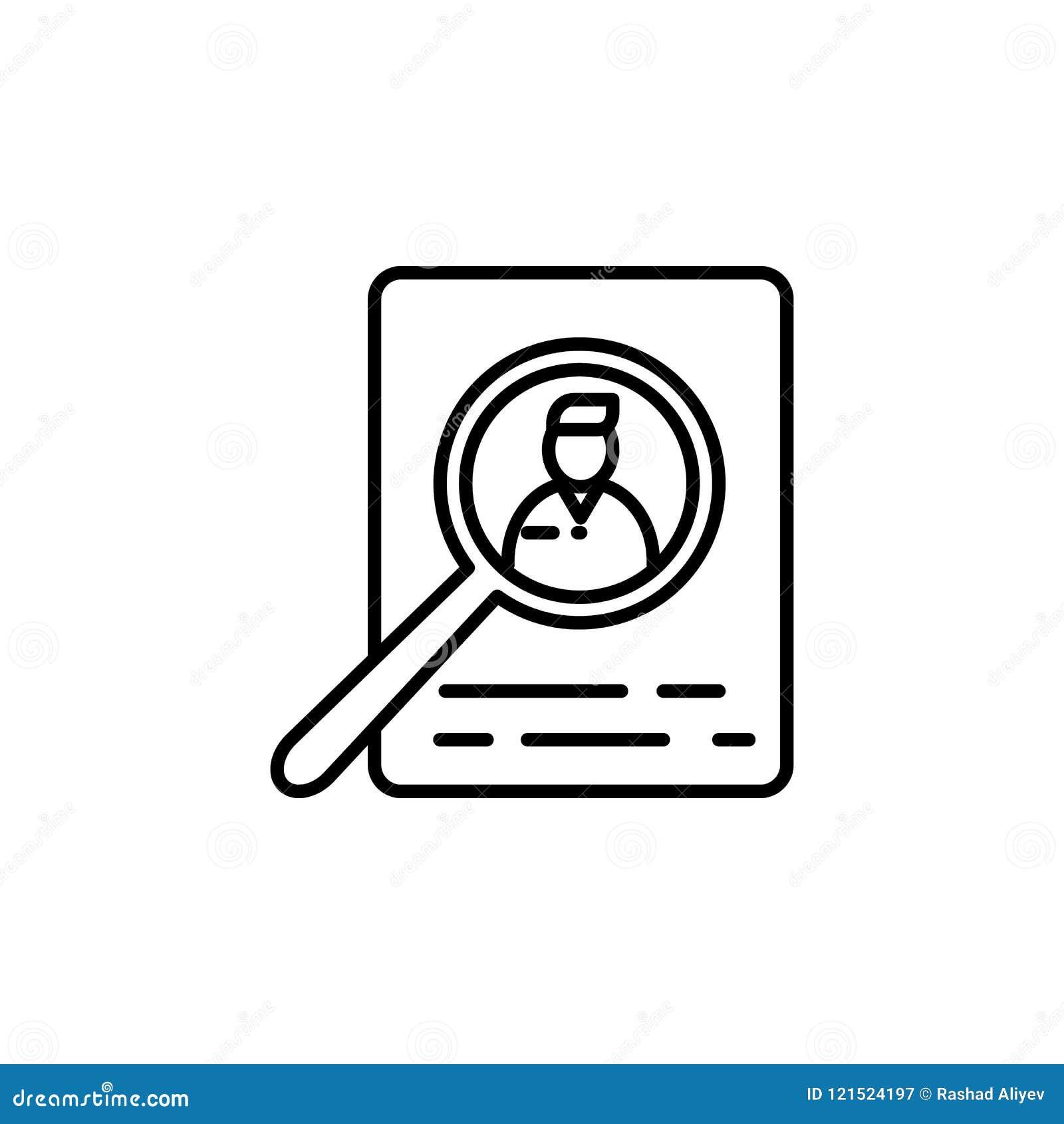 Recherche des candidats pour le travail Élément d icône d entrevue d emploi pour les apps mobiles de concept et de Web Ligne minc