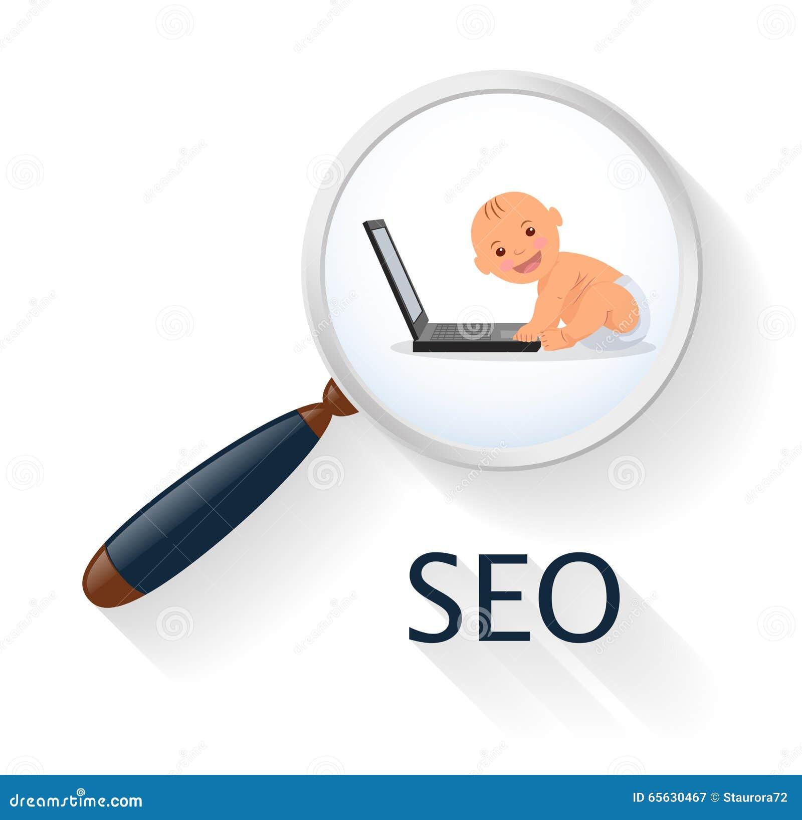 Recherche et analytics Enfant en bas âge de concept d affaires avec un ordinateur portable Seo Infographics ou site Web d élément