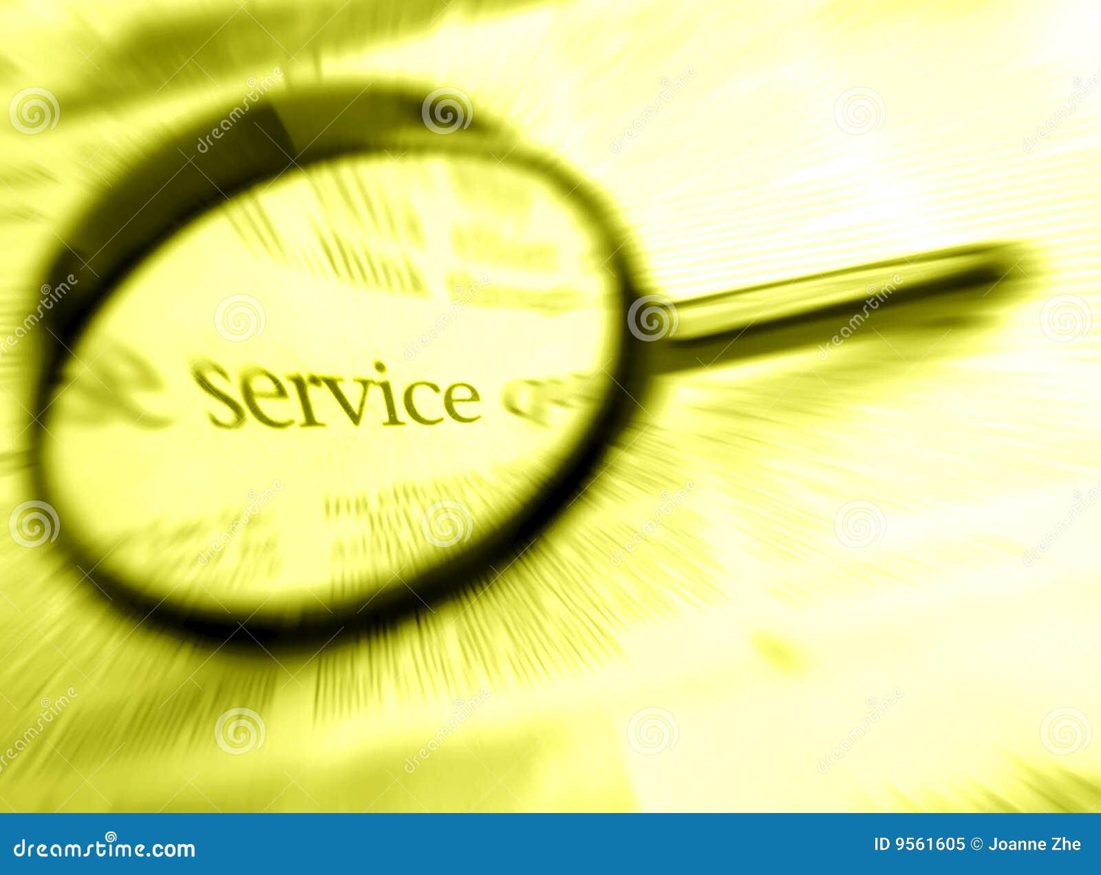 Recherche nach Wort Service mit Vergrößerungsglas