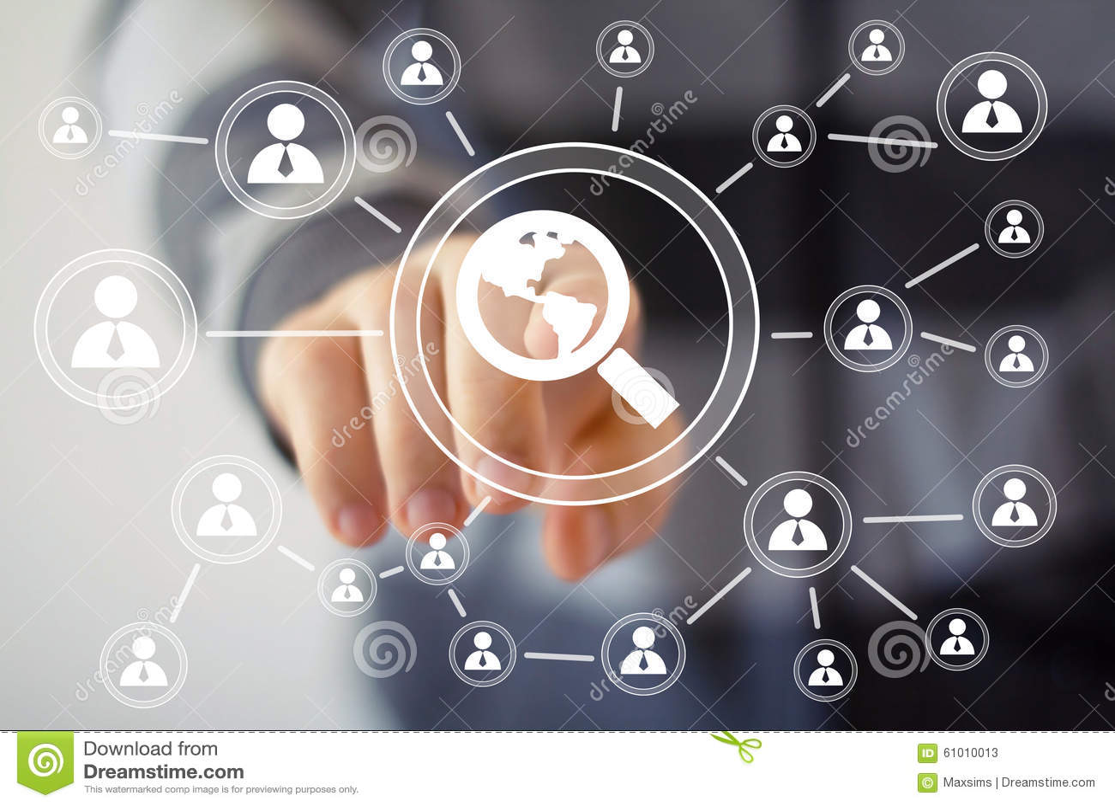 Recherchez la communication de signe de carte en ligne d affaires de boucle de loupe