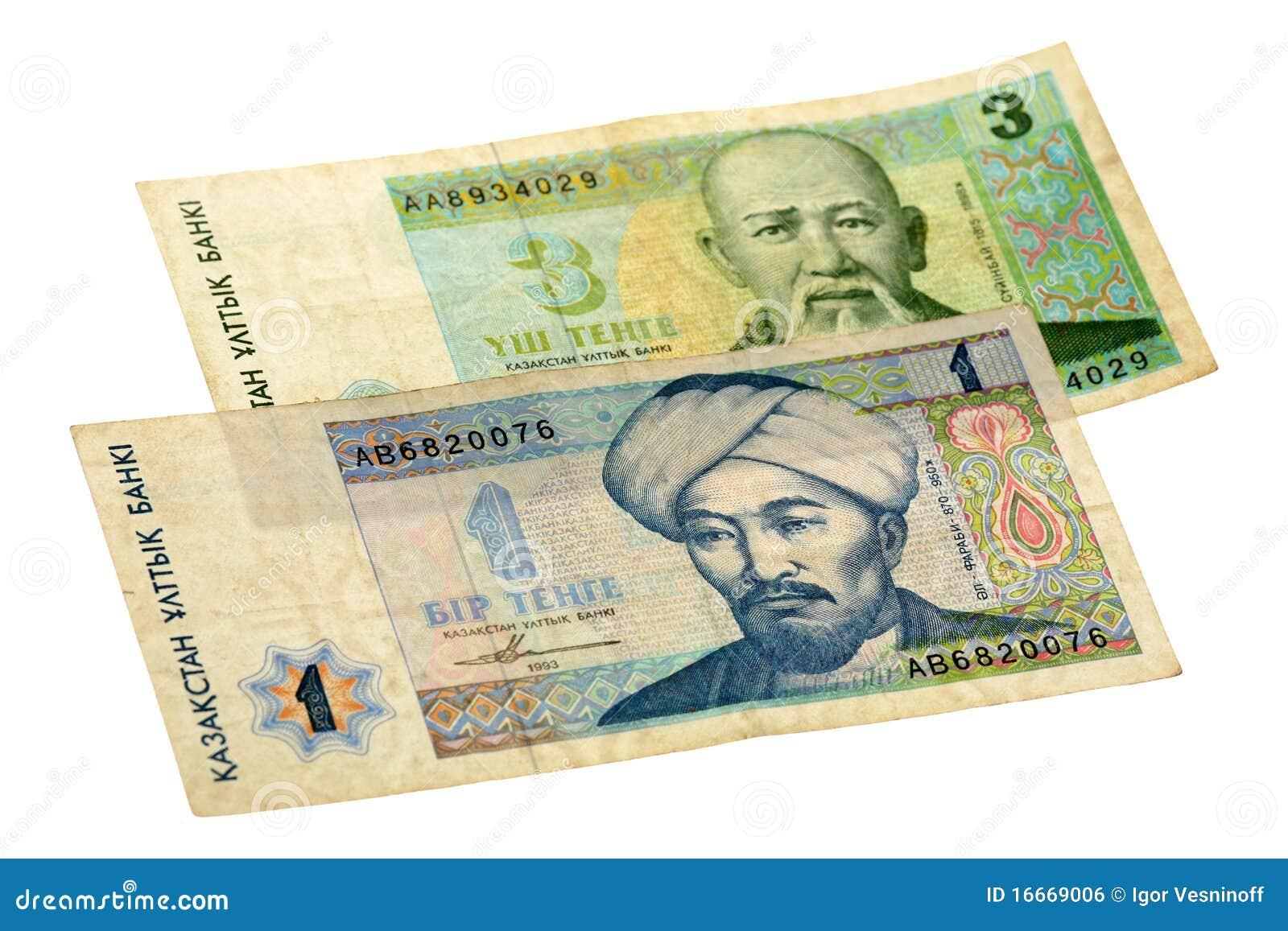 Rechnung mit 1 und 3 Tenge von Kazakhstan