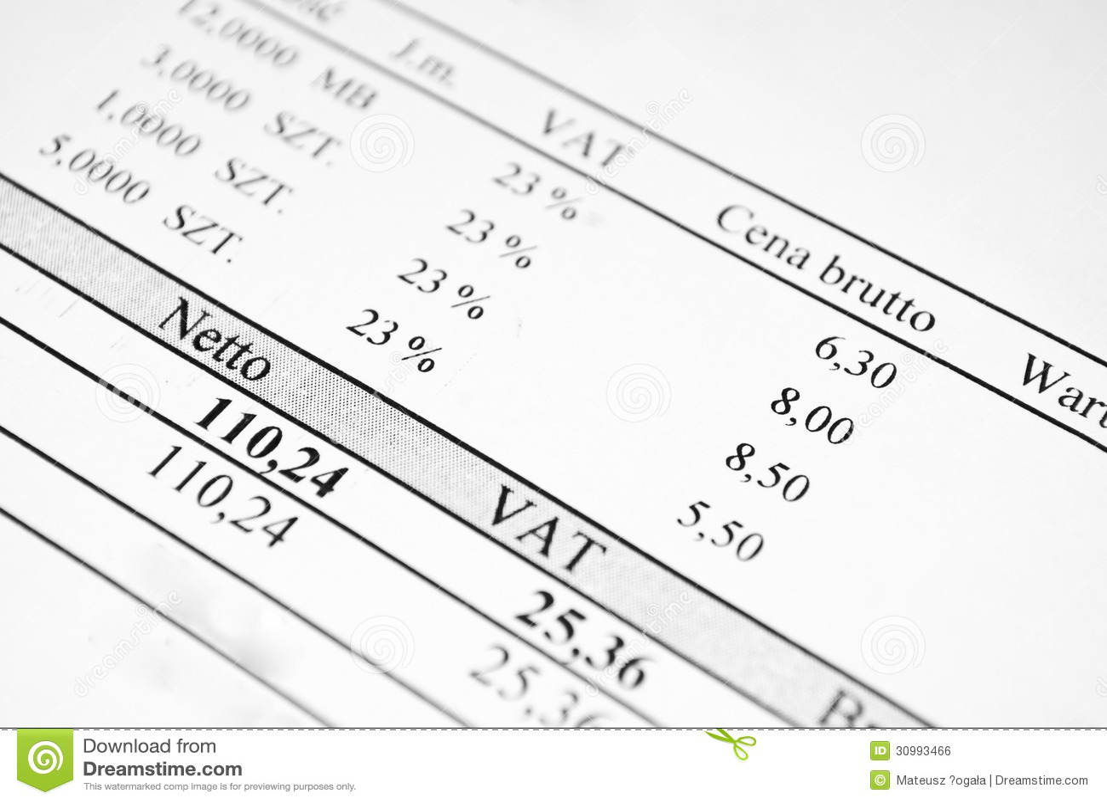 Rechnungsblatt Mit Preisen Und Steuer Stockfoto - Bild von diagramm ...