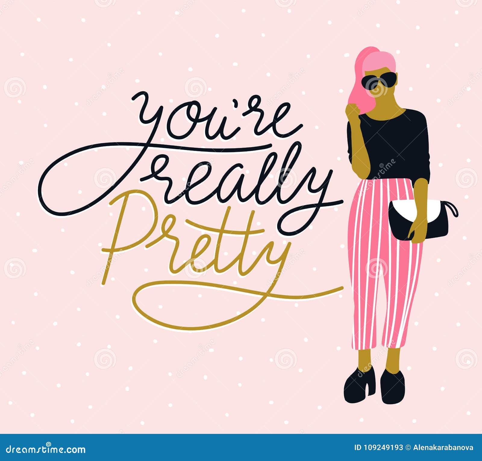 Recht junge Frau in der Sonnenbrille mit handgeschriebenem Beschriftung ` Sie ` bezüglich des wirklich hübschen `, rosa Tupfenhin