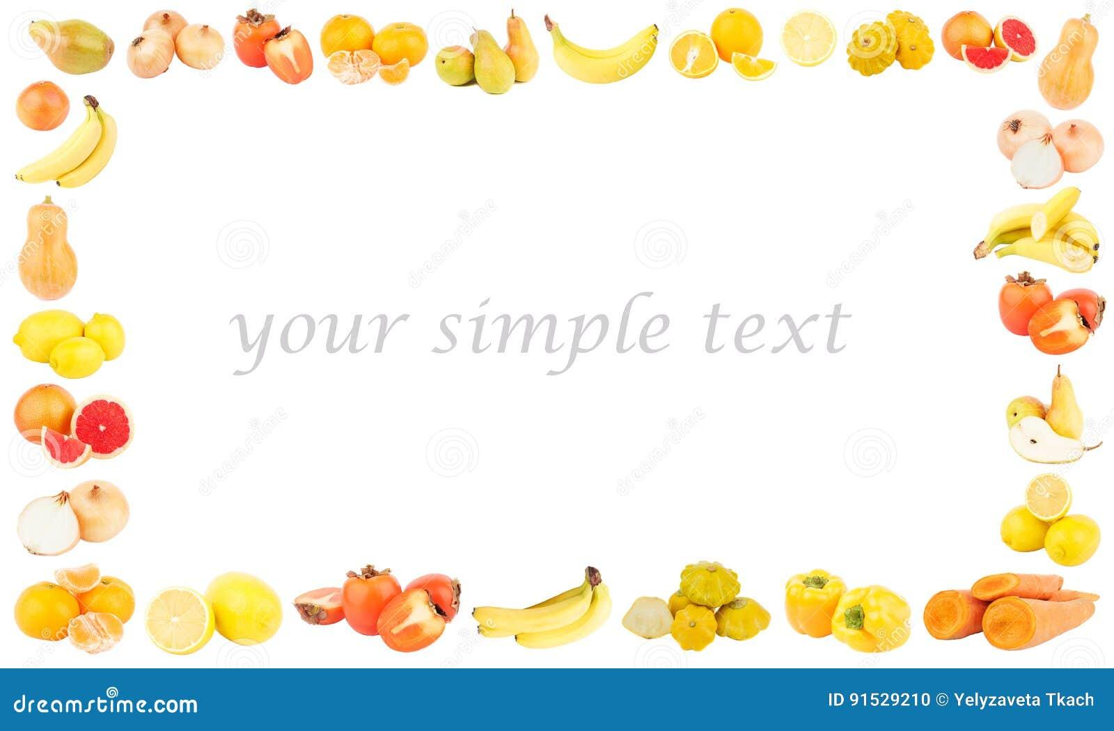 Rechteckiger Rahmen Von Den Verschiedenen Gelben Und Orange Obst Und ...