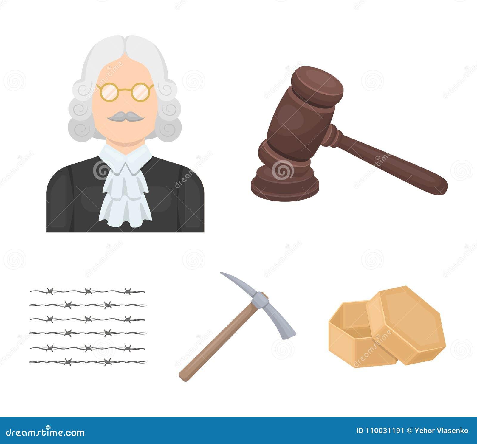 Rechter, houten hamer, prikkeldraad, pikhouweel Pictogrammen van de gevangenis de vastgestelde inzameling in vector het symboolvo
