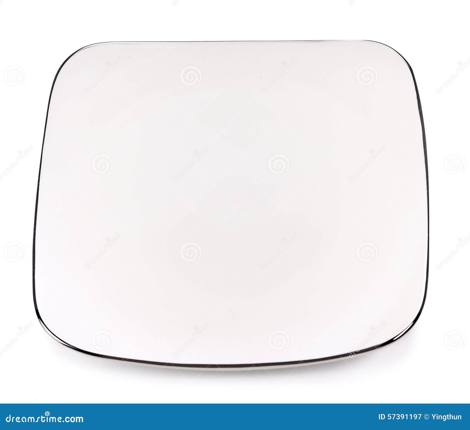 Rechthoekige plaat met zilver op witte achtergrond