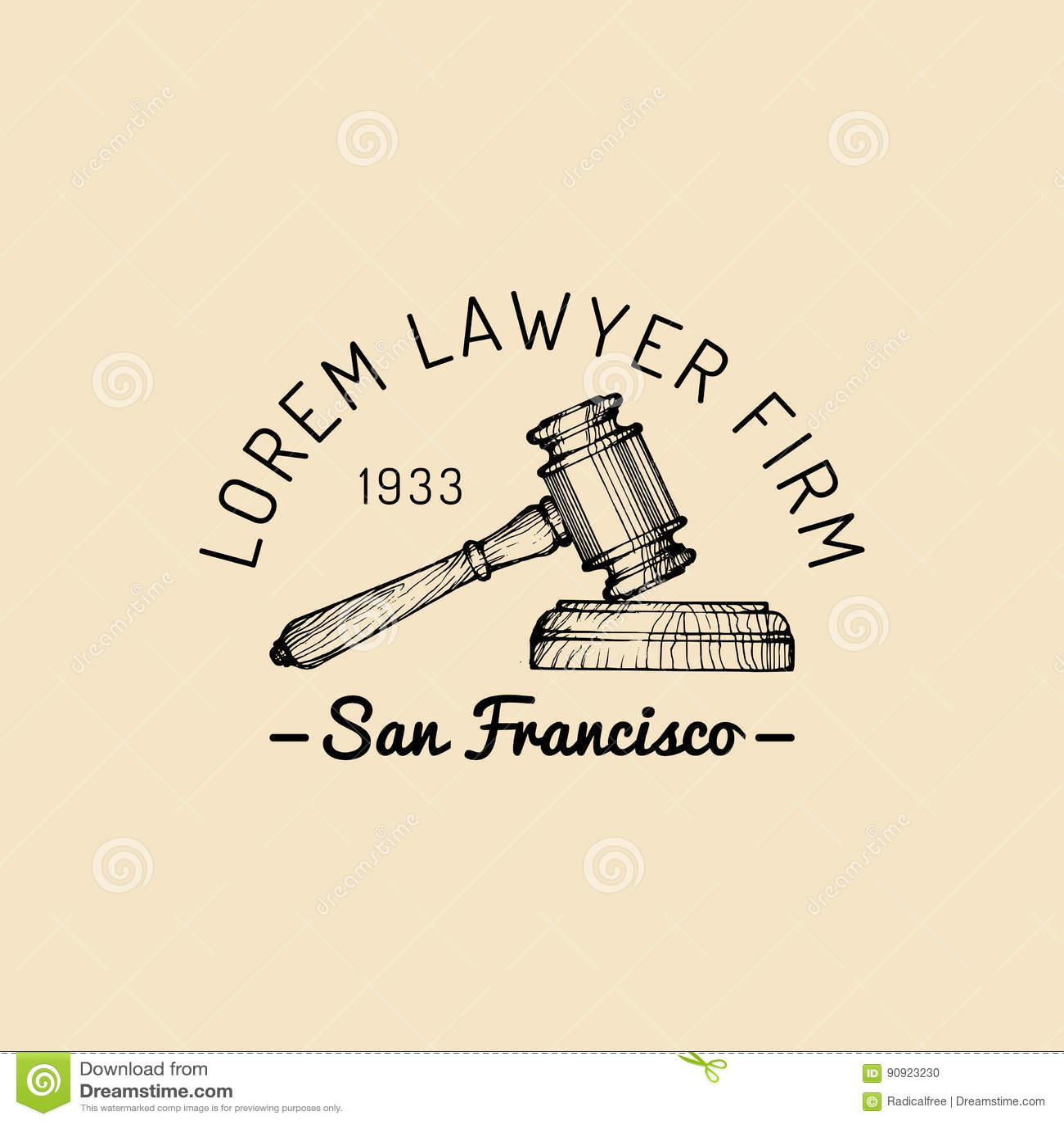 Rechtsanwaltsbürologo mit Hammerillustration Vector Weinleserechtsanwalt, Anwaltaufkleber, rechtlicher fester Ausweis