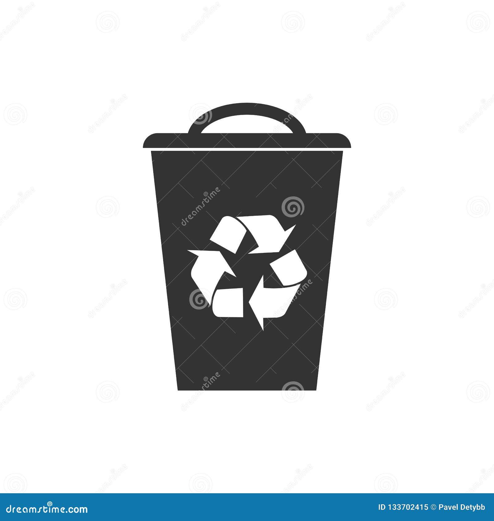 Recicl o ícone do escaninho Ilustração do vetor, projeto liso